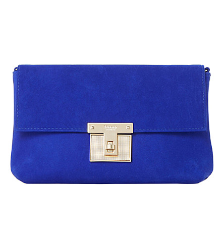 DUNE Birchin fold-over suede clutch bag (Blue-nubuck