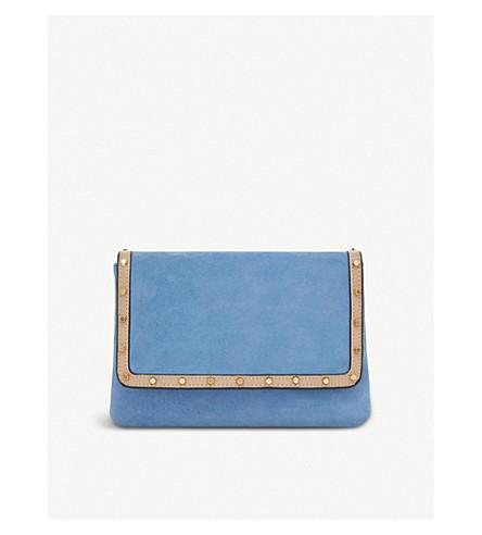 DUNE Borriss suede studded clutch bag (Blue