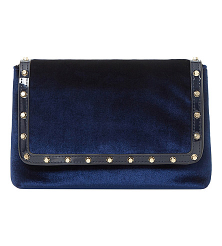 DUNE Borriss velvet studded clutch bag (Navy-velvet