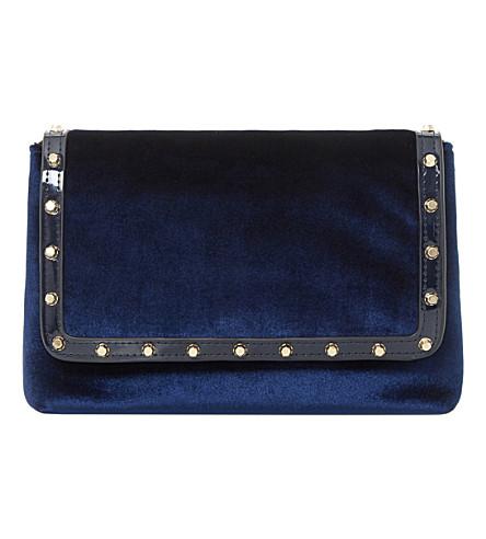 DUNE Borriss velvet studded clutch bag (Navy-velvet