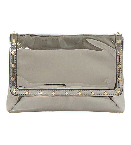 DUNE Borriss metallic studded clutch bag (Pewter-synthetic