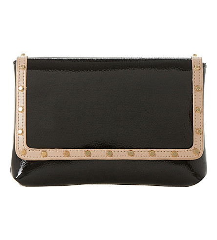 DUNE Borriss patent studded clutch bag (Black-leather