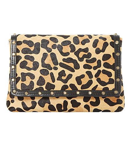 DUNE Borriss pony studded clutch bag (Leopard-pony