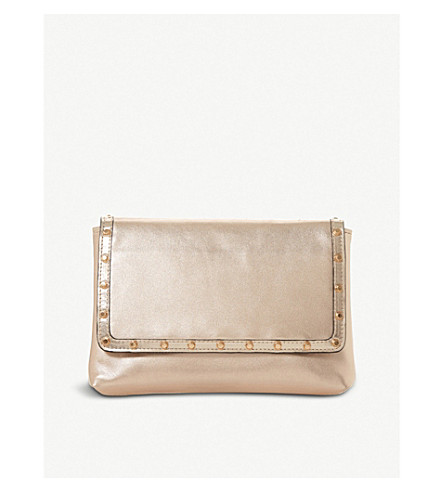 DUNE Borriss metallic leather studded clutch bag (Rose+gold-metallic