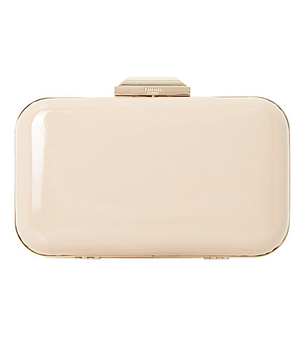DUNE Beverlie patent leather clutch bag (Nude-patent