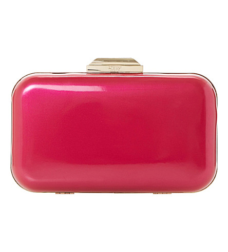 DUNE Beverlie patent box clutch (Pink-patent