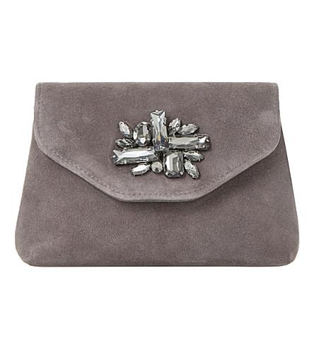 DUNE Bandie brooch-detail clutch bag (Grey-suede