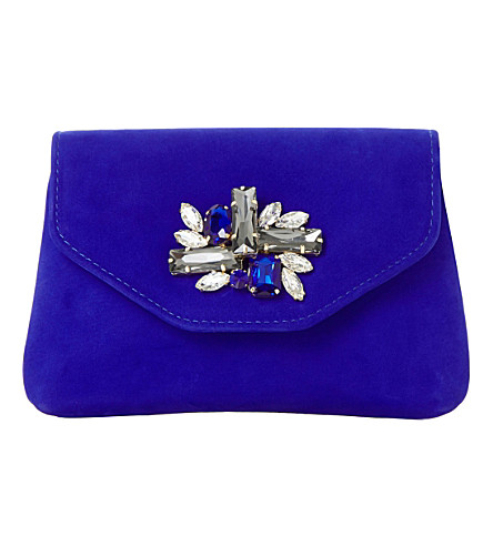 DUNE Bandie brooch-detail clutch bag (Blue-nubuck