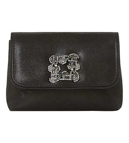DUNE Beston brooch-embellished suede clutch bag (Black-metallic