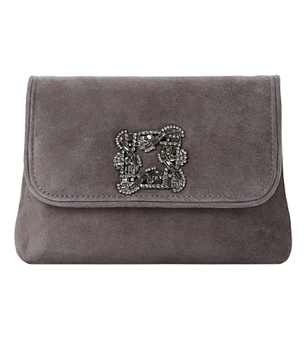 DUNE Beston suede embellished handbag (Grey