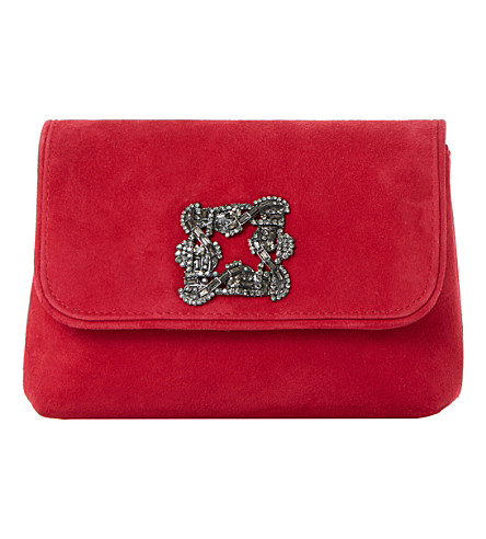 DUNE Beston suede embellished handbag (Red-suede