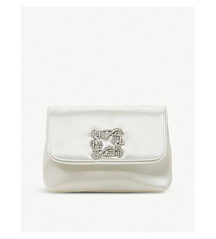 DUNE Beston embellished satin clutch (Ivory-satin