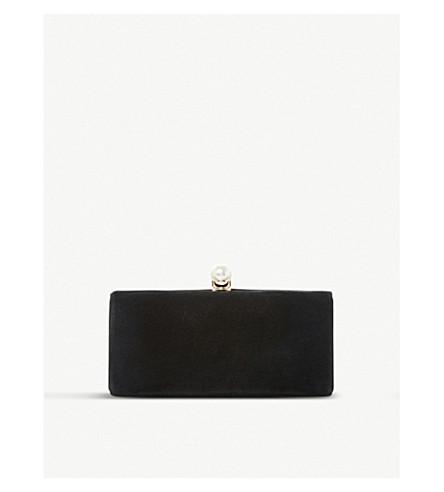 DUNE Baltimor velvet and pearl trim clutch bag (Black-suede