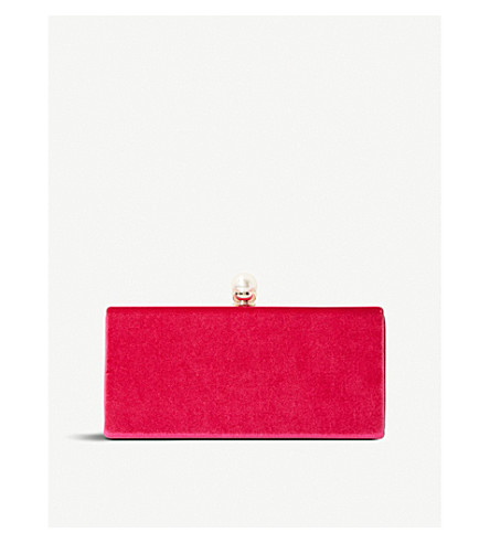 DUNE Baltimor velvet and pearl trim clutch bag (Pink+velvet