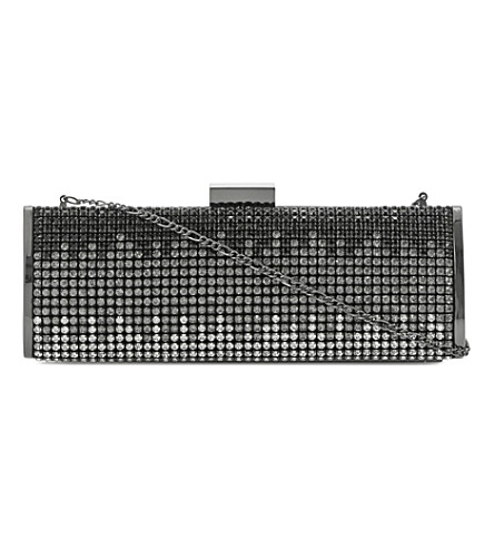 Batreena rhinestone-embellished clutch (Black-beaded