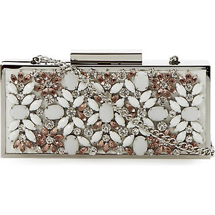 DUNE Ecasey jewelled clutch bag (White-synthetic