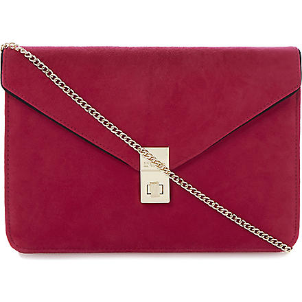 DUNE Blockies oversized suede clutch (Pink-suede