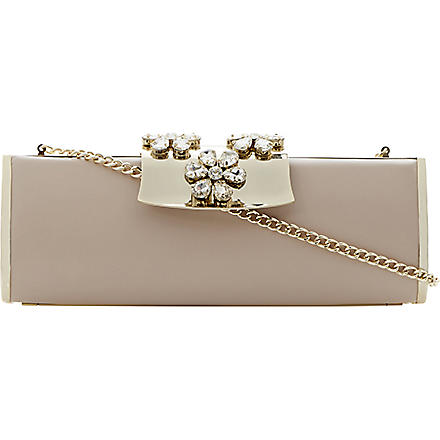 DUNE Baizey jewelled clutch bag (Nude-leather