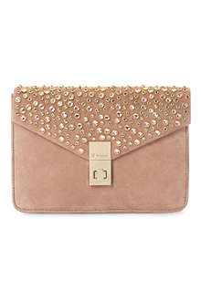 DUNE Bethy jewel-studded suede clutch