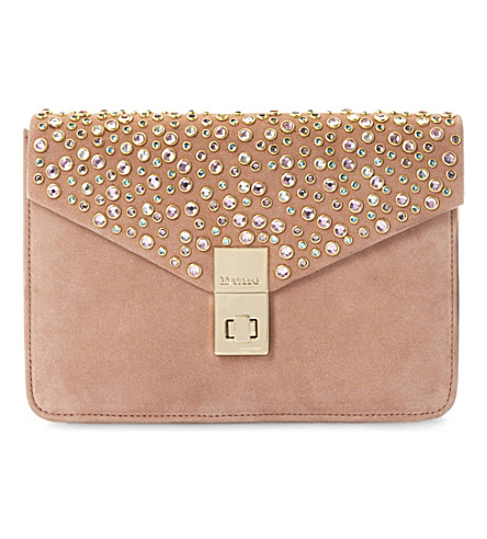 DUNE Bethy jewel-studded suede clutch (Pink-suede