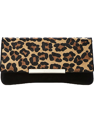 DUNE Boost suede fold-over clutch