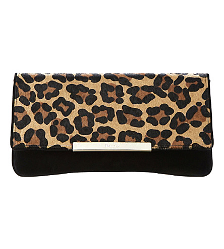 DUNE Boost suede fold-over clutch (Leopard-pony