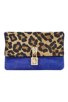 DUNE Bluebell pony and suede padlock clutch