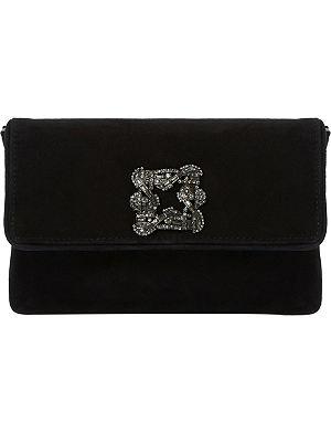 DUNE Bree brooch-detail suede clutch bag
