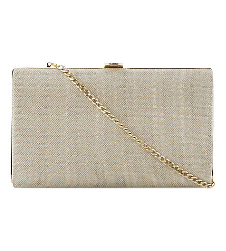 DUNE Burex framed lurex clutch (Gold-glitter