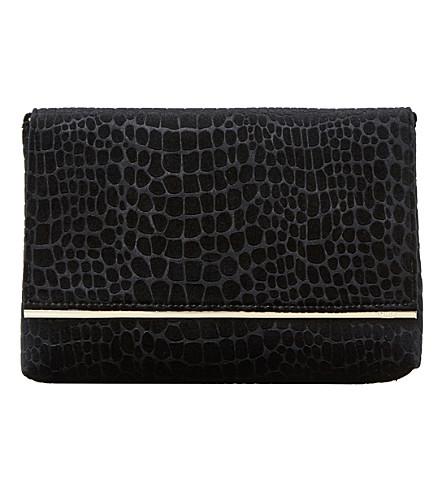 DUNE Bronto faux-croc foldover clutch bag (Black-velvet