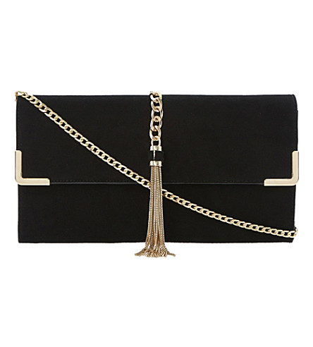 DUNE Edgie suede tasselled chain detail clutch (Black-suede