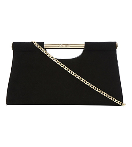 DUNE Envie frame handle suede clutch (Black-suede
