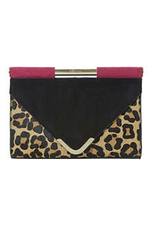 DUNE Ebarrio top-bar suede envelope clutch
