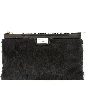 DUNE Eboomiez double pouch faux fur clutch