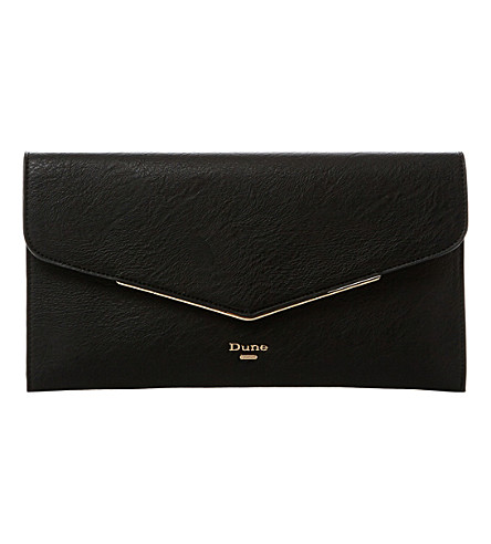DUNE Epeonnie envelope clutch bag (Black-plain+synthetic
