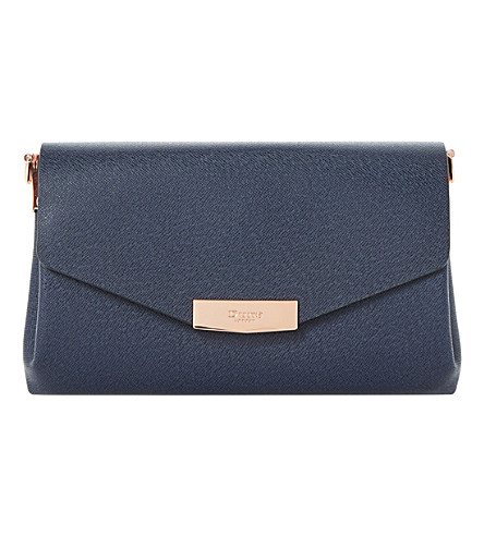 DUNE Exie textured clutch bag (Navy-plain+synthetic