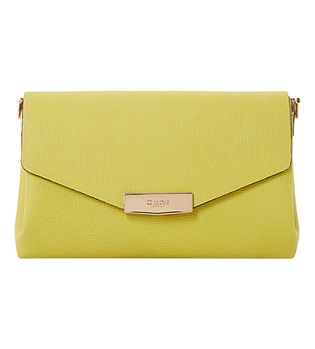 DUNE Exie textured clutch bag (Lime-plain+synthetic