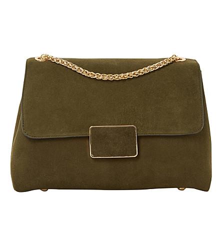 DUNE Ejay suede shoulder bag (Khaki-suede