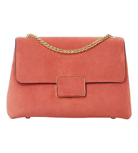 DUNE Ejay suede shoulder bag (Coral-suede
