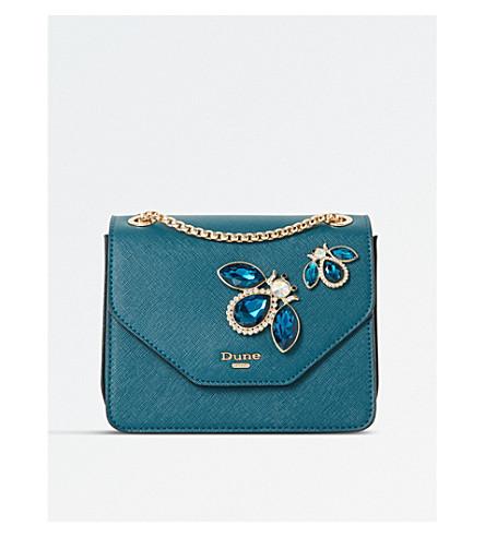 DUNE Elady jewel-embellished shoulder bag (Teal-synthetic