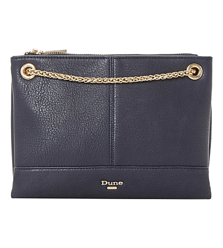 DUNE Eholly triple-pouch shoulder bag (Navy-plain+synthetic