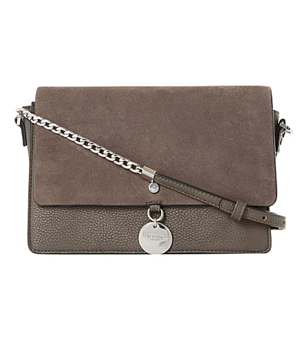 DUNE Evania suede leather handbag (Grey-suede