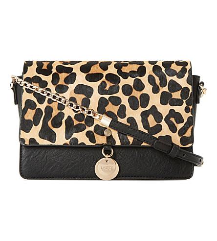DUNE Evania suede leather handbag (Leopard-pony