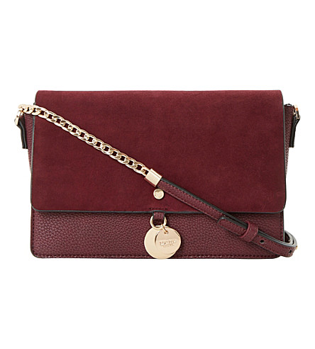 DUNE Evania suede leather handbag (Berry-suede