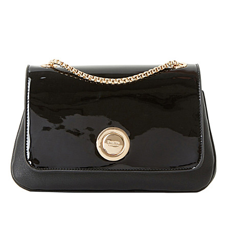 DUNE Elfina circle-lock patent shoulder bag (Black-synthetic