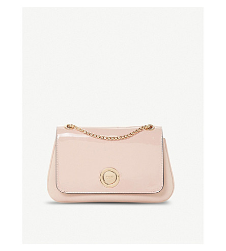 DUNE Elfina circle-lock patent faux-leather shoulder bag (Nude-patent+synthetic