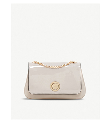 DUNE Elfina circle-lock patent faux-leather shoulder bag (Taupe-patent+synthetic