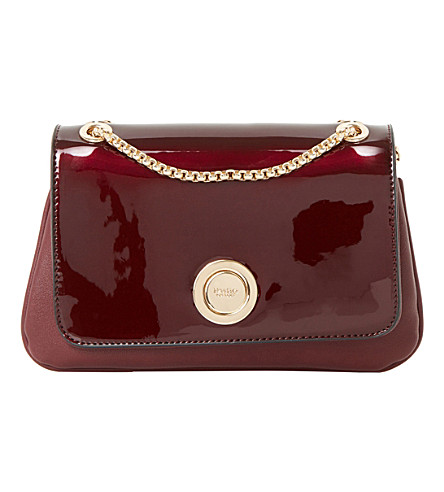 DUNE Elfina circle-lock patent shoulder bag (Berry-plain+synthetic