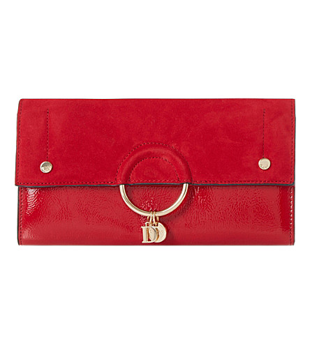 DUNE Emmett charm suede clutch bag (Red-suede