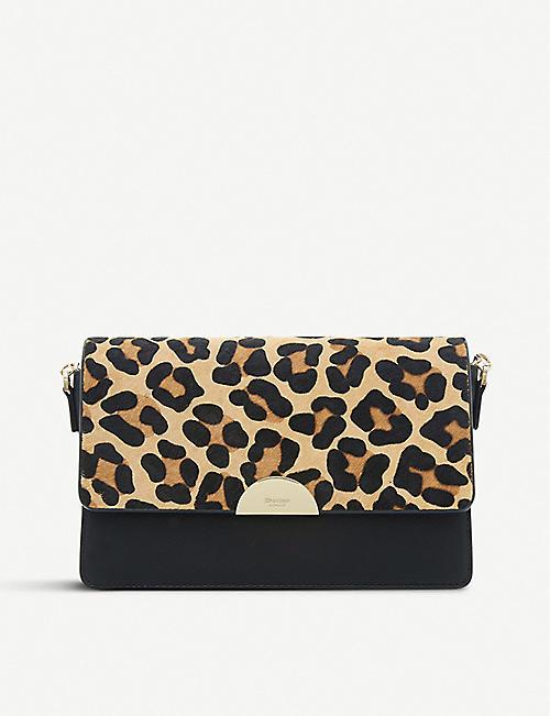 c927e0936214 DUNE Evonia leopard-print faux-leather crossbody bag